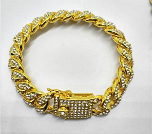 Luxo dos homens Iced Out Diamond Moda Pulseiras Pulseiras de Alta Qualidade de Ouro Cuban Elo Da Cadeia Pulseira Miami Hip Hop Jóias