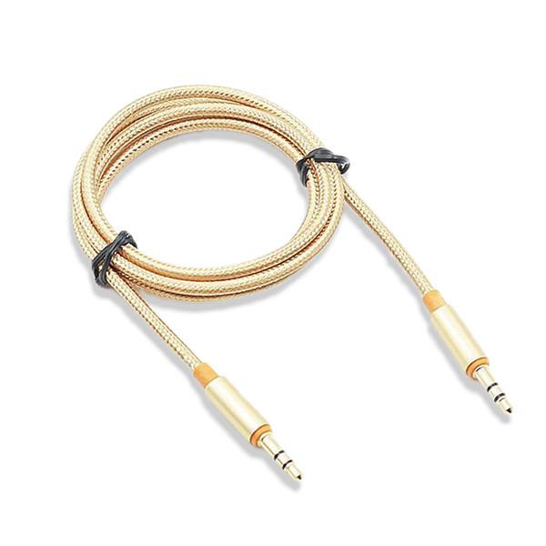 Hohe Qualität 1 Mt 3,5mm Gestrickten Metall Aux-eingang Audio Kabel Lautsprecher Linie Gold Verlängerungskabel für Smartphone Auto MP3 Media Player