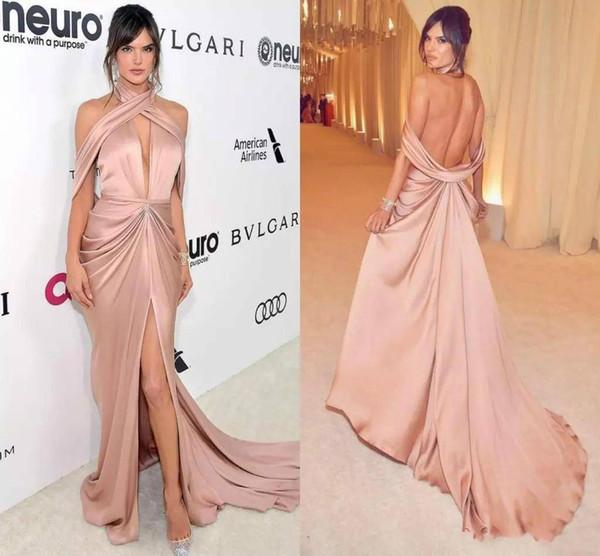 Neue stilvolle tiefem V-Ausschnitt Sexy Red Carpet 2019 Abendkleid drapiert Open Back High Split formale Prom Customized Abendkleider