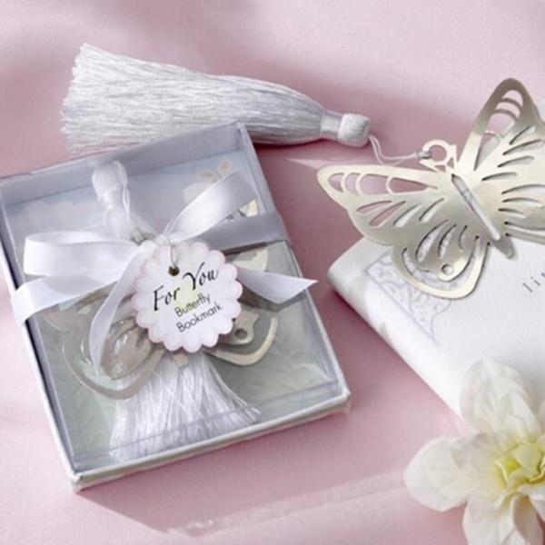 500pcs metallo argento farfalla segnalibri segnalibri nappe bianche matrimonio baby shower decorazione festa favori regali regali spedizione gratuita