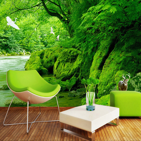 Custom 3D Photo Wallpaper Green Forest Natural Scenery Wall Painting HD Living Room Sofa Background Wallpaper Home Decor Mural