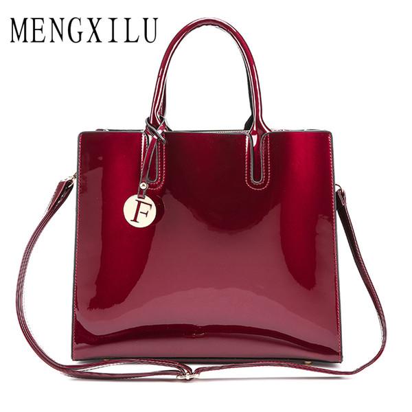 MENGXILU Brand Pu Patent Leather Handbags Women Famous Brands Tote Bag  Lady s Lacquered Bag Handbag for Women Shoulder e9f371617b