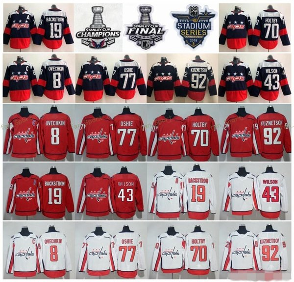 2018 Stanley Cup Meister Washington Capitals Alex Ovechkin TJ Oshie Braden Holtby Nicklas Gegenstrom Wilson Evgeny Kuznetsov Hockey Trikots