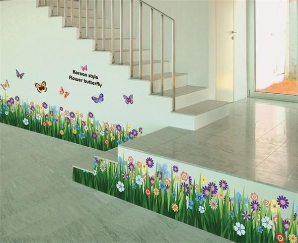 Çiçekler Çim Duvar Kağıdı Kelebek Dans Çıkartması Oturma Odası Yatak Odası Duvar Sticker Kağıt Su Geçirmez Çıkarılabilir Ev Dekorasyon 3 3 ...