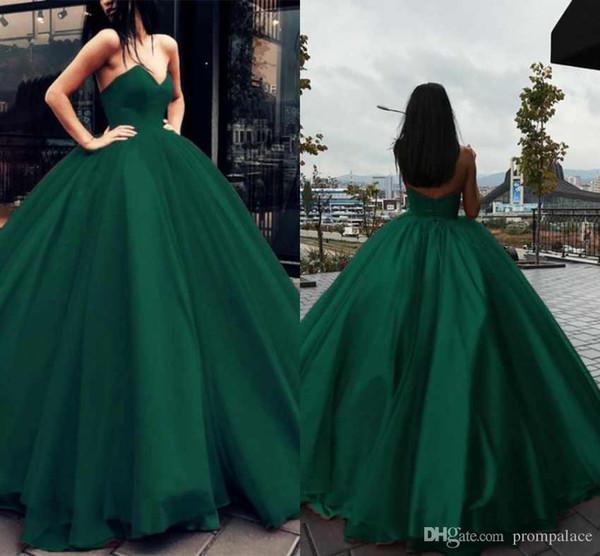 2019 verde escuro modesto vestido de baile quinceanera vestidos querida cetim noite vestidos vestidos de baile sweet 15 vestidos vestidos de quinceanera