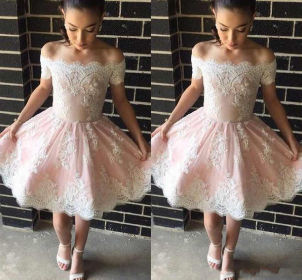 2018 New Cheap Sexy Blush Pink Cocktail Dresses White Lace Appliques Off Shoulder Short Mini Party Formal Prom Dresses Homecoming Gowns