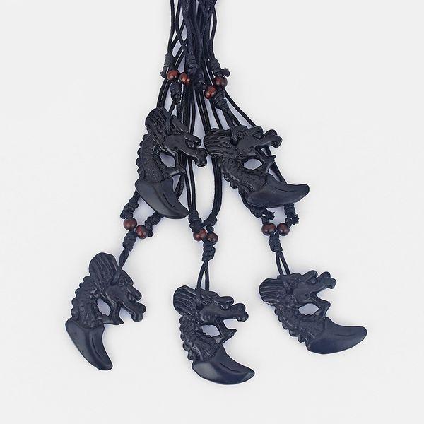Dropshiiping 12pcs Faux Yak Bone Black Resin Dragon Pendant Necklace Surfer Black Wax Cotton Cord Adjustable