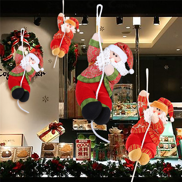 Christmas Lawn Decorations.35cm Plush Christmas Decorations Santa Claus Doll Climbing Rope Ornaments For Window Shopping Mall New Year Party Diy Navidad Christmas Lawn Ornaments