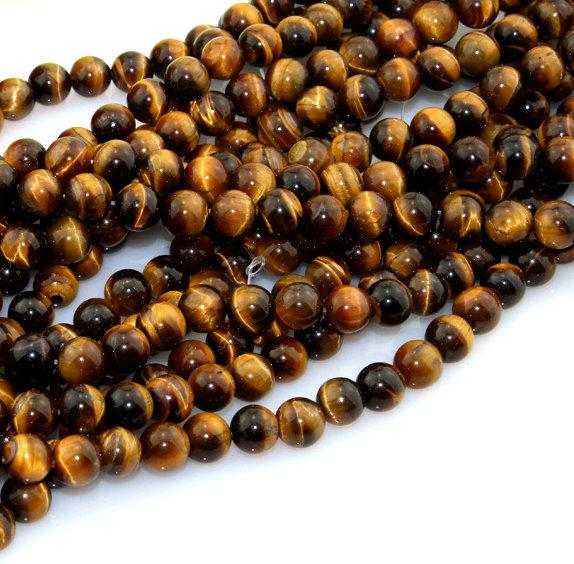Natural Tiger Eye Gemstone Loose Spacer Round Beads DIY Craft Jewelry Finding