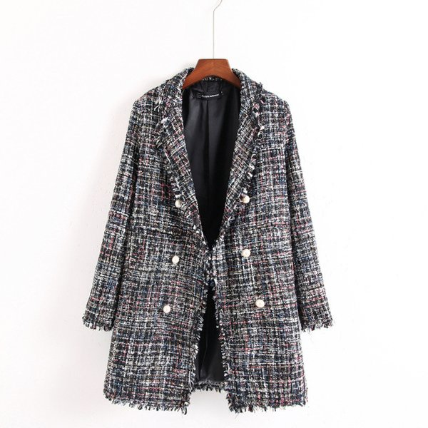S-L women autumn winter fashion coat lapel neck beads tassel design elegant coat office ladies wear *18