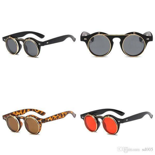 New Pattern Retro Sunglasses Personality Fashion Flip Up Punk Glasses Man And Women Trend Circular Frame Eyewear 7jg WW