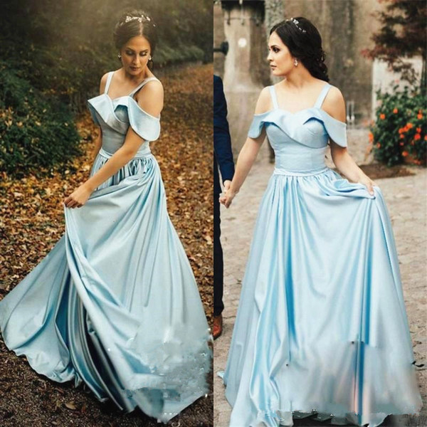 Light Sky Blue Cinderella Prom Dresses Off Shoulder Short Sleeve Long A Line Romantic Vintage 2019 Girls Party Gowns Evening Dress