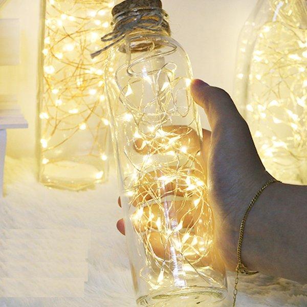 10 pçs / lote LED Vaso corda luz botão à prova d 'água bateria operado luzes de fadas para festa de casamento Em Casa decorações DIY 7 Cores