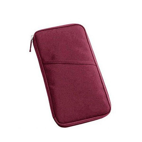 Wholesale 5pcs Wine Red Travel Wallet Document Organizer Pas Ticket Holder Closure Zip