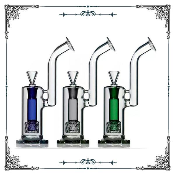 2018 Hot sale 10'' glass bubbler bong colorful double showerhead percolator glass bong smoking water pipe heady glass bubblers hookah pipes