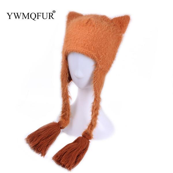 YWMQFUR Winter Women Ear Protection Hats Cute Cat Ears Beanies Braid Caps With Artificial Mink Velvet Vintage Knit Female Hat