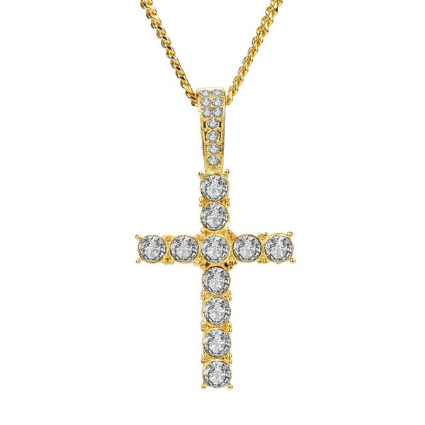 Hip Hop Men Fashion Jewelry Stainless Steel Cross Pendant Necklace Full Rhinestone Design Gold Silver Color Chain Jewellery Men Necklace