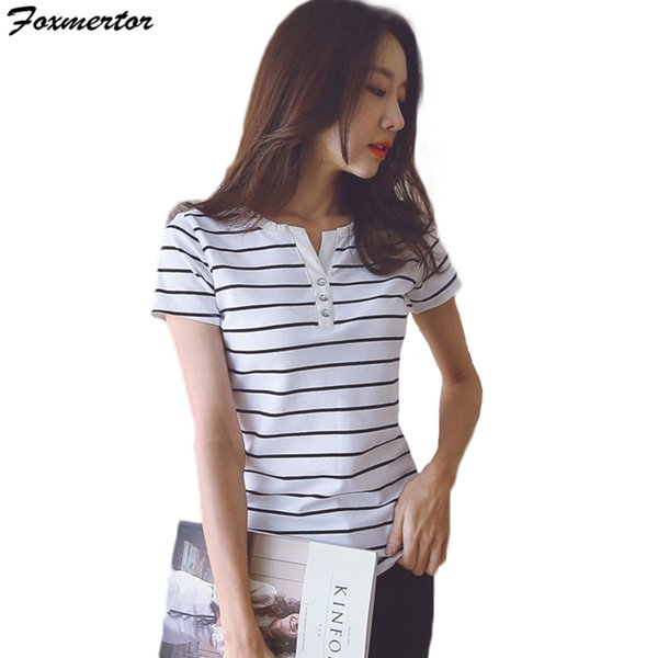 Cotton Tee Shirt Femme New T Shirt Women 2018 Summer Top Shirts V-neck Short Sleeve Casual t Lady Top Tees Plus Size S-5XL
