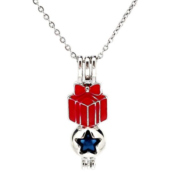 Silber Emaille Weihnachten Red Gift Box ätherisches Öl Diffusor Medaillon Frauen Aromatherapie Perlen Perle Oyster Cage Halskette Anhänger-Boutique Geschenk