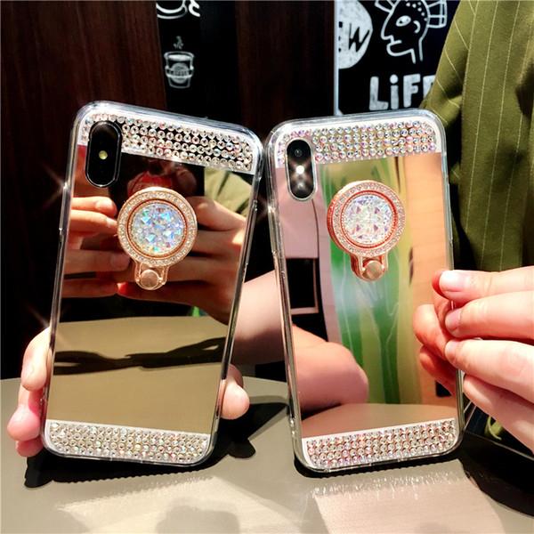 Titular do diamante handmade hard case stand kickstand tampa do espelho para iphone xs max xr x 8 7 6 plus samsung galaxy s10 e s9 s8 m10 m20 a30 a50