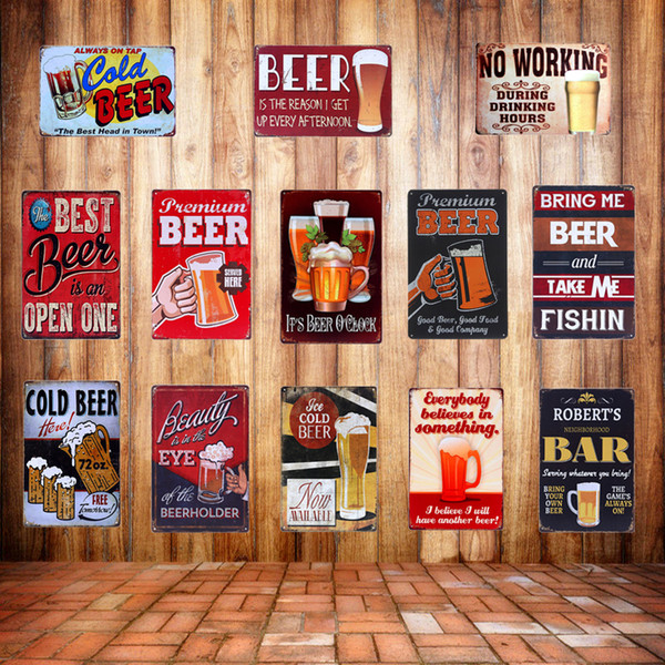 Retro Plaque  BEER Metal Tin Signs Vintage BAR Pub Home Wall Decor Art Cerveja Poster Decorative Wall Painting Craft A627