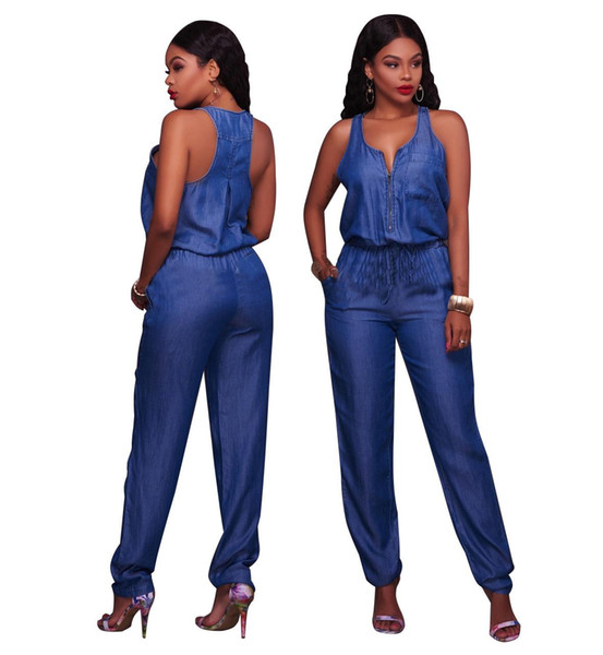 2018 Summer New Arrival Women Long Sleeve Jeans Jumpsuit Deep V with Botton Rompers Full Length Overalls Lady Girls