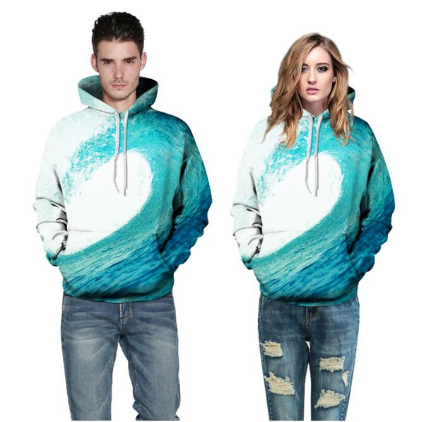 Heißer Verkauf sup Sea Waves Sweatshirt Männer / Frauen 3d Hoodies Druck Blue Waves Mit Kapuze Hoody Marke Hoodies Trainingsanzüge Tops