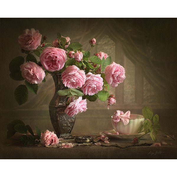 Frameless Vintage Flower Diy Painting By Numbers Acrylic Picture Hand Painted Oil Painting Wall Art Canvas For Unique Gift