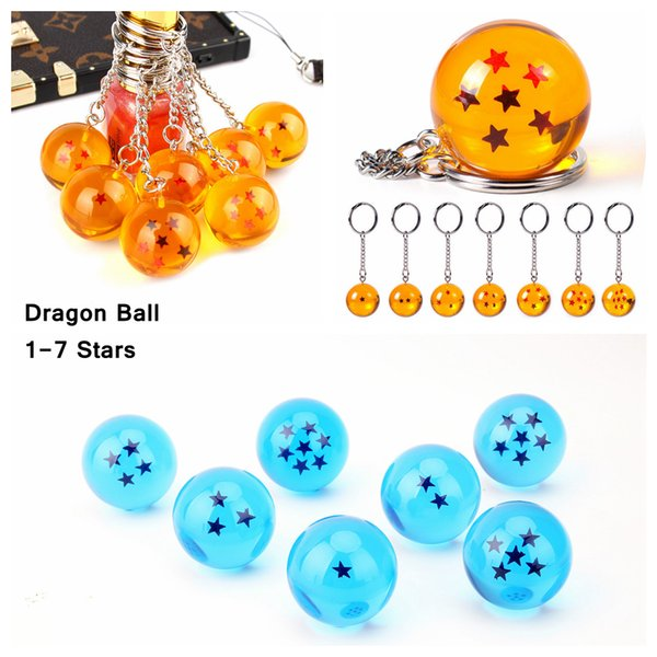 7pcs/set 2.7cm Dragon Ball Z 7 Stars Keychain Yellow Blue Crystal Resin Balls Keychain Pendant Child Gift Toys Souvenirs AAA840