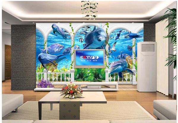 3d wallpaper custom photo mural Pillar underwater world dolphin background wall 3d wall murals wallpaper for walls 3 d living room