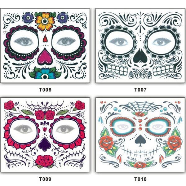 Christmas party Facial day of the dead faced tattoo Halloween and masquerade ball must, pretty tattoo sticker waterproof faced tattoo
