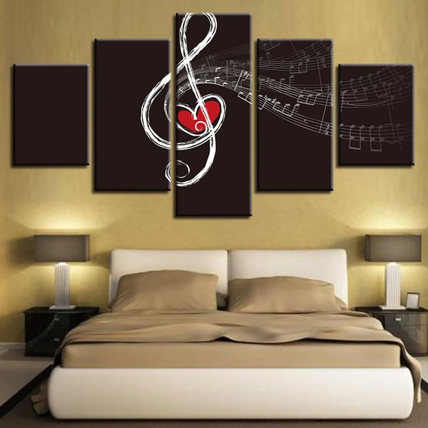 Modular Canvas HD Prints Pictures Home Decor 5 Pieces Love Music Painting Wall Art Musical Note Poster For Living Room Framework