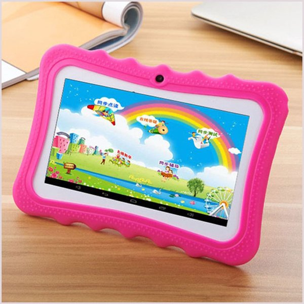 top popular 2018 Kid Educational Tablet PC 7 Inch Touch Screen Android 4.4 Allwinner Quad Core 512MB RAM 8GB ROM Dual Camera WIFI Kids Tablet PC MQ10 2019
