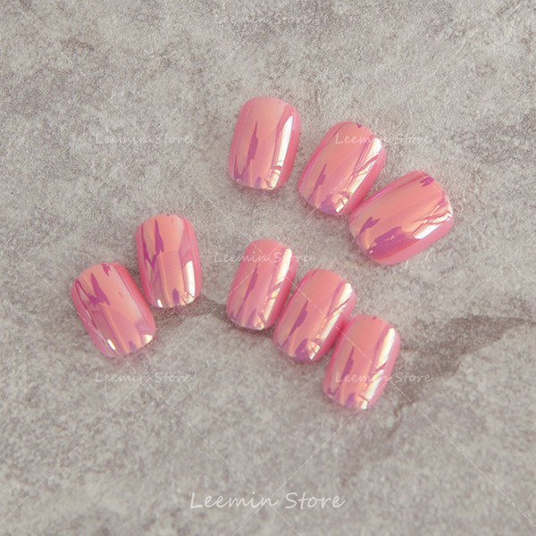 False nail Pink Manicure mirror nail color reflective multiple patch finished glass paper effect / soft nails