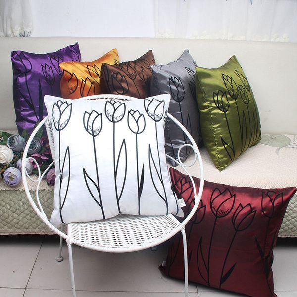 Taie d'oreiller Silk Like Taie d'oreiller 7 couleurs Taie d'oreiller Flocked 45 cm Taie d'oreiller haute qualité imprimée Floral