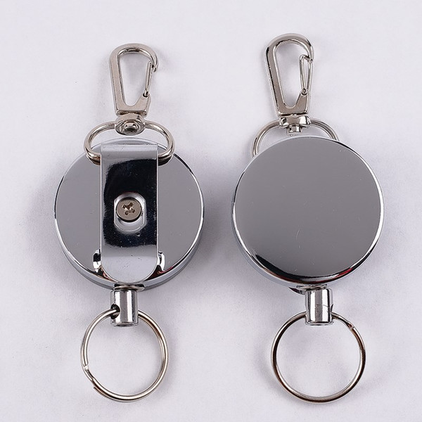 High Resilience Steel Wire Key Chain Ring Wire Rope Chain Recoil Metal Retractable Alarm Anti Lost Belt Clip