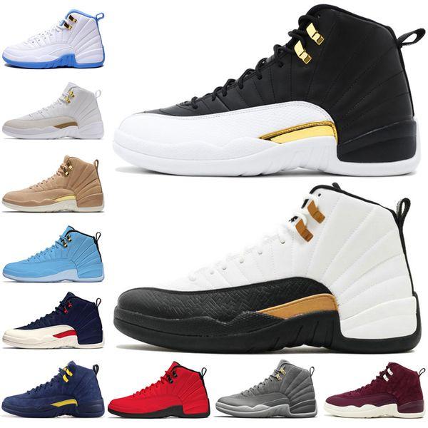 12 12s mens scarpe da basket Michigan Bulls College Navy Vachetta Tan Wheat Grigio scuro Bordeaux Gym Rosso uomo Sport sneakers outdoor designer