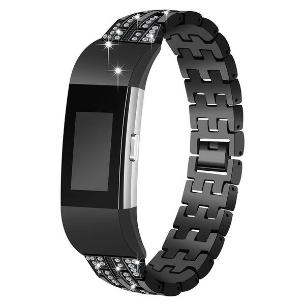 Pulsera de acero inoxidable sin tornillo para Fitbit charge2 Correa metálica para FITBIT CHARGE Correa de 2 bandas Pulseras de repuesto