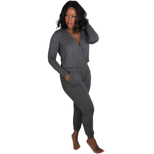 Plus Size Wrap V Neck Long Playsuit With Pockets Siamese Pants Women OL Style Full Sleeve Elastic Waist One Piece Jumpsuit XXL