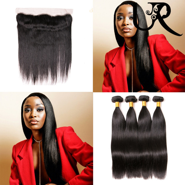 Filipino Virgin Straight Hair 3 Bundles with Frontal Closure 100% Silky Straight Human Hair Weave with 13x4 Pre Plucked Lace Frontal Closure