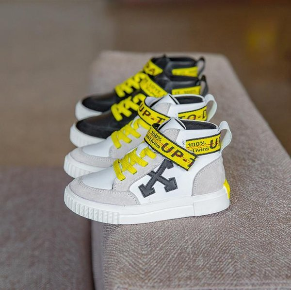 2018 Autumn New Pattern Children's High Help Plat Shoes Boy And Girl Genuine Leather Super Quality Street Casual Sneakers