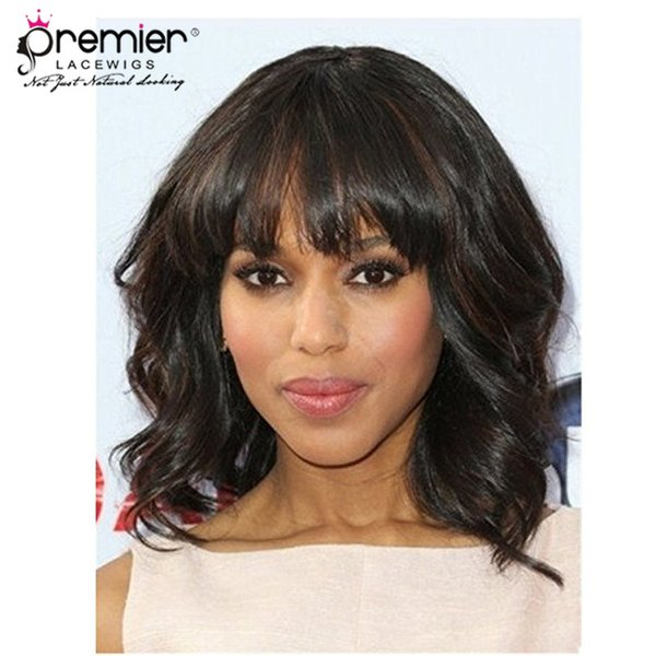 Premier Glueless Lace Front Wigs With Bangs Brazilian Remy Human Hair 130% Density ShorT Bob Wavy For American