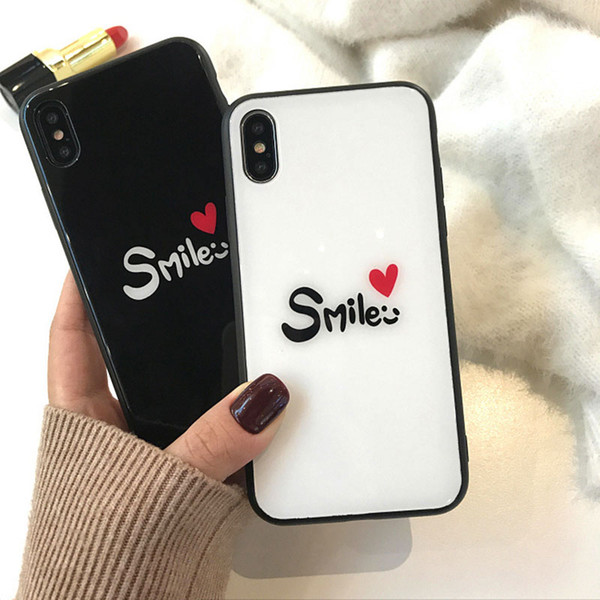 New Arrival For iphone 8 PLUS glass cover New Cute Smile Letters tempered glass case for Apple tempered glass cover