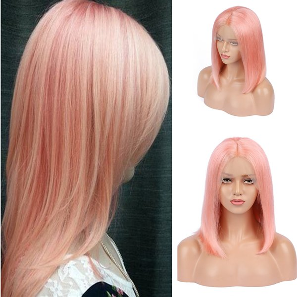 Beauty Pink Color Human Hair Glueless Full Lace Wig With Baby Hair Peach Pink Bob hair cut Lace Front Wig Bleached Knot