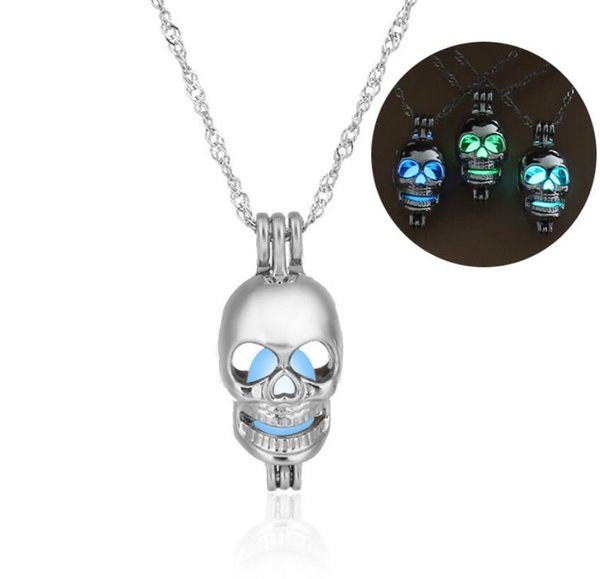 Skull pendant Necklace Halloween Luminous diy lucky charm jewelry accessories fashion silver jewelry 2018 best gfits