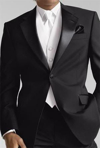 Mens Black Suits White Waistcoat Formal Outfit One Button Party Casual Tuxedos