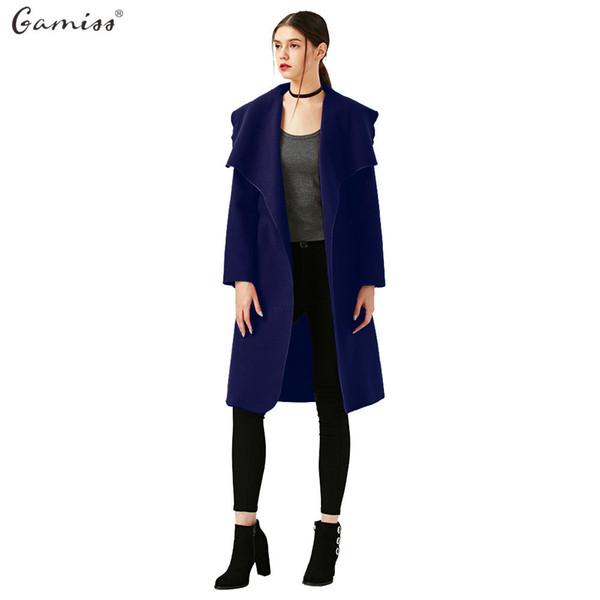 Gamiss Women Fashion Elegant Woolen Long Trench Coat With Belt Ladies Wool Coat Winter Jacket Long Maxi Overcoat manteau femme L18100706