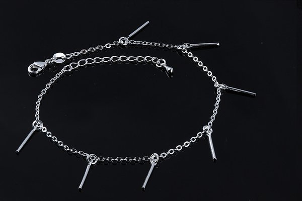 Foot Jewelry Anklets Hot Sale Silver Anklet Link Chain For Women Girl Foot Bracelets Fashion Jewelry Wholesale Free Shipping