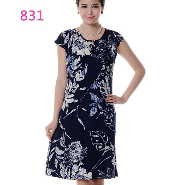 Women Summer Short Sleeve Vintage Dress 2018 Middle-Aged Cotton Floral Print Dress Womens Clothing Vestido Plus Size 5XL ZS274