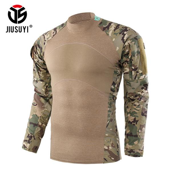Tarnung Taktische Armee T-Shirt Kampfkraft Uniform Kleidung Shirts Langarm T-stücke Outwear Für Männer Männlichen